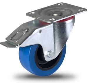 Serija PB – kolesa za flight case z modro elastično gumo in pocinkanim ohišjem – za zaboje, flight case majhnih nosilnosti