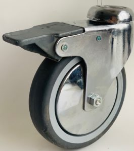 Serija JXPE/BXPE – kolesa s kromiranim ohišjem in sivo termoplastično gumo – majne nosilnosti
